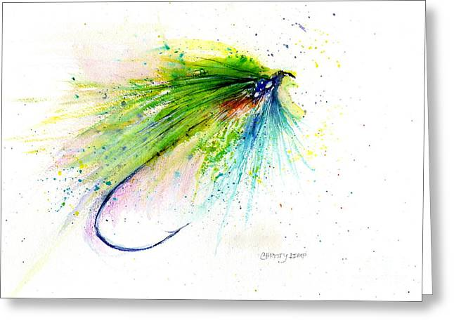 Trout Fly Greeting Card by Christy Lemp