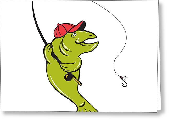 Trout Fly Fishing Rod Hook Cartoon Greeting Card by Aloysius Patrimonio