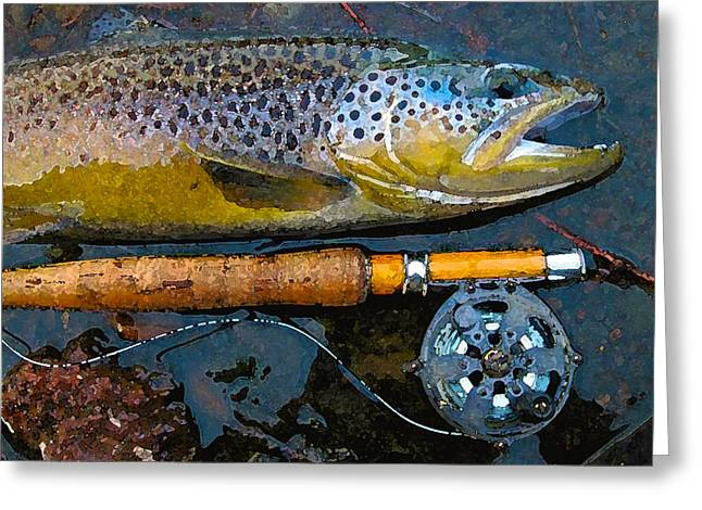 Trout On Fly Greeting Card by Lina Tricocci