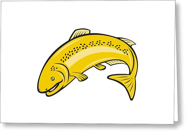 Trout Rainbow Fish Jumping Cartoon  Greeting Card by Aloysius Patrimonio