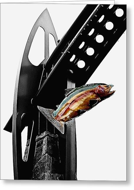 Troutdale Trout Greeting Card by CJ Anderson