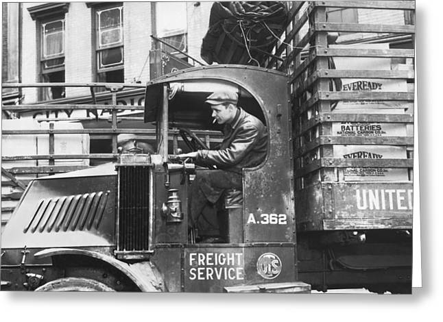 Truck Driver In His Cab Greeting Card