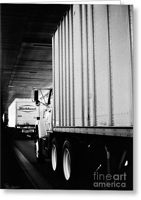 Truck Traffic In Tunnel Greeting Card