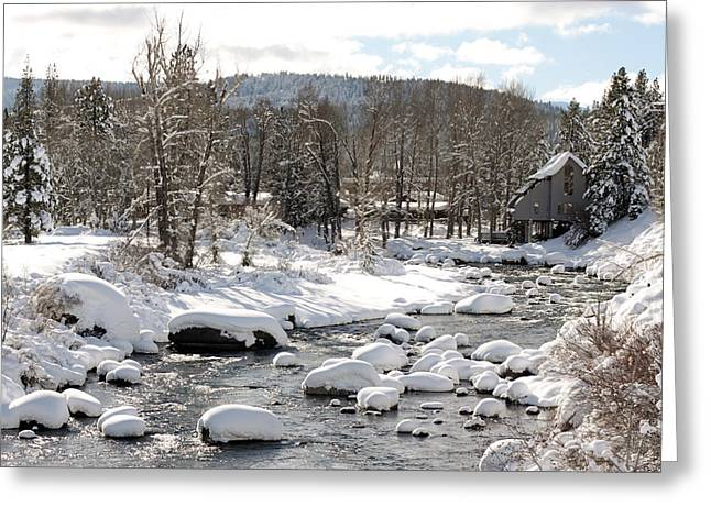 Truckee River At Christmas Greeting Card by Denice Breaux