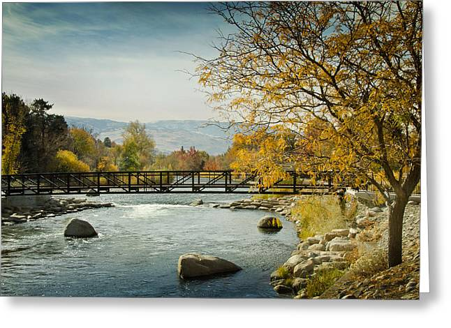 Greeting Card featuring the photograph Truckee River Downtown Reno Nevada by Janis Knight