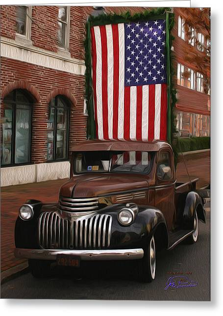 Truckin Old Glory Greeting Card