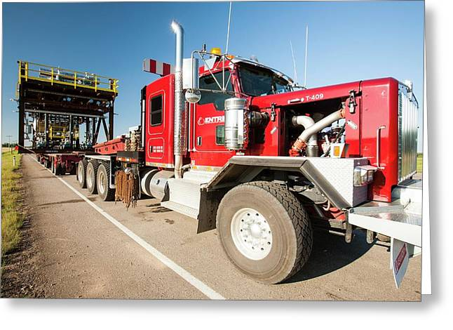 Trucks Haul Load Of Tar Sands Equipment Greeting Card by Ashley Cooper