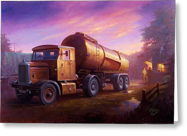 Truckstop 1956 Greeting Card by Mike  Jeffries
