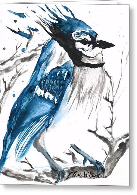 True Blue Jay Greeting Card by D Renee Wilson