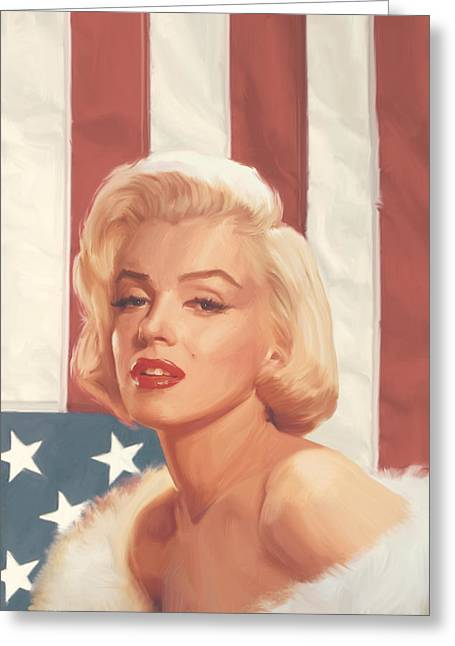 True Blue Marilyn In Flag Greeting Card by Chris Consani