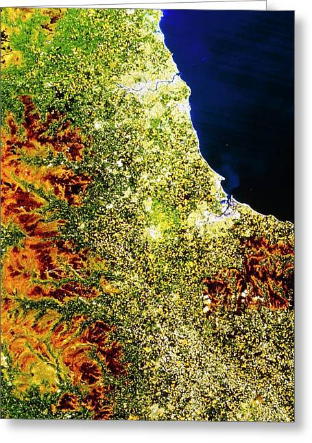 True-colour Satellite Image Of North-east England Greeting Card