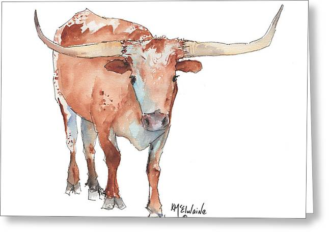 Square Walking Tall Texas Longhorn Watercolor Painting By Kmcelwaine Greeting Card by Kathleen McElwaine