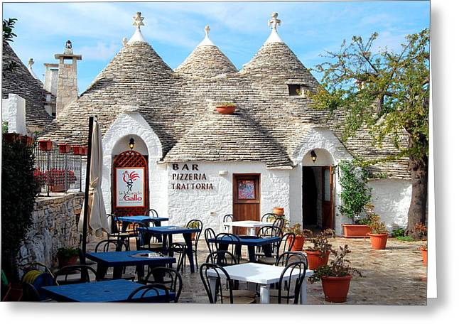 Trulli Outdoor Trattoria Greeting Card
