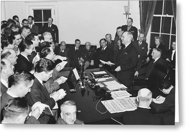 Truman Announces V-e Day Greeting Card by Underwood Archives
