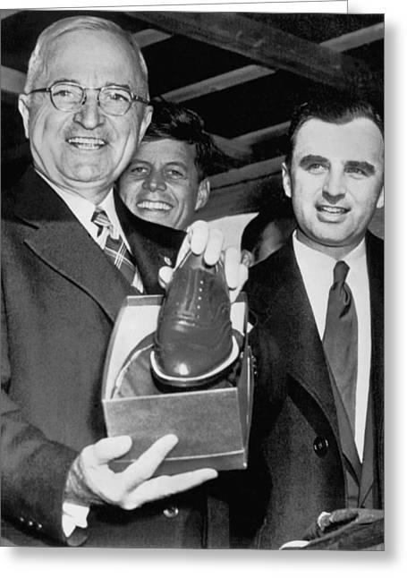 Truman Gets New Shoes Greeting Card by Underwood Archives