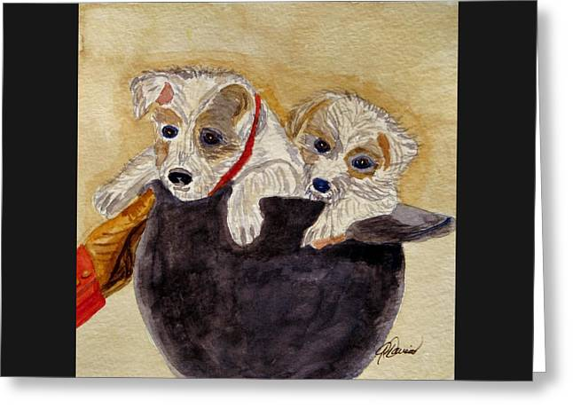 Greeting Card featuring the painting Trump And Tillie by Angela Davies