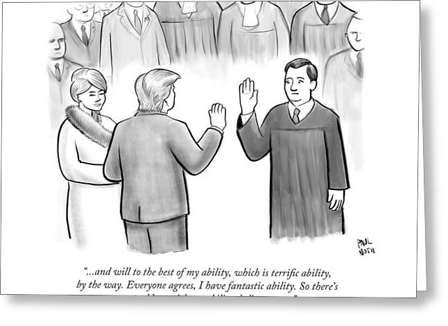 Trump Being Sworn Into Office Greeting Card