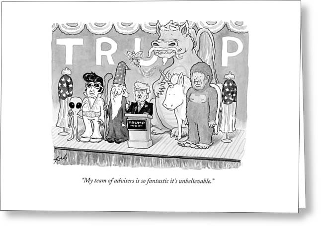 Trump Giving A Speech Greeting Card
