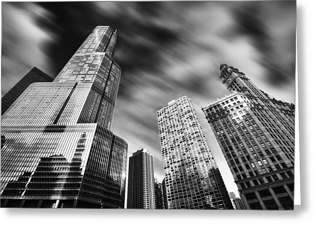 Trump Tower In Black And White Greeting Card by Sebastian Musial