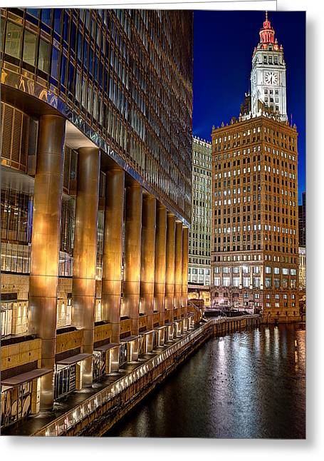 Trump Wrigley Chicago River Blue Hour Greeting Card by Michael  Bennett