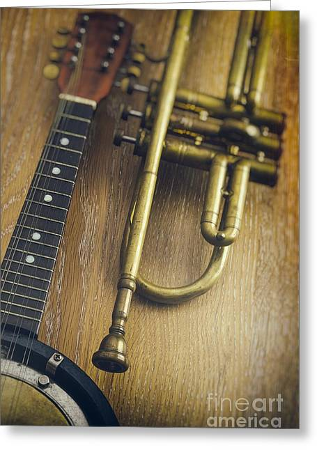 Trumpet And Banjo Greeting Card by Carlos Caetano