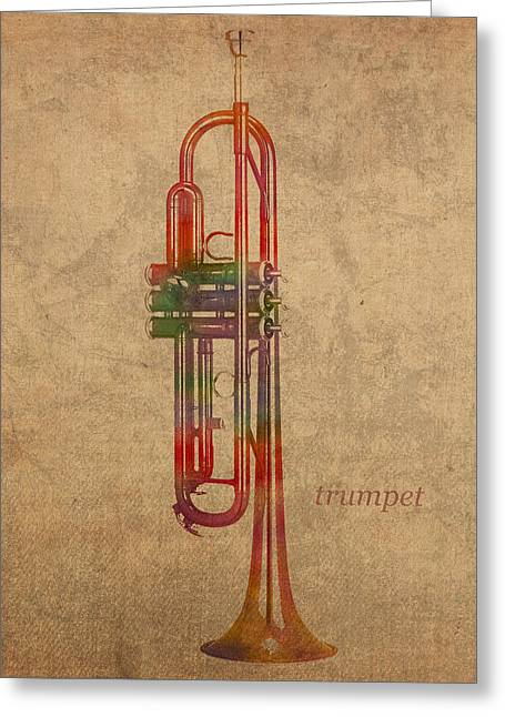 Trumpet Brass Instrument Watercolor Portrait On Worn Canvas Greeting Card