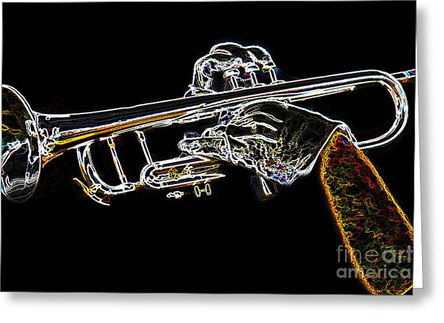 Trumpet Day Glow Greeting Card by Tom Gari Gallery-Three-Photography