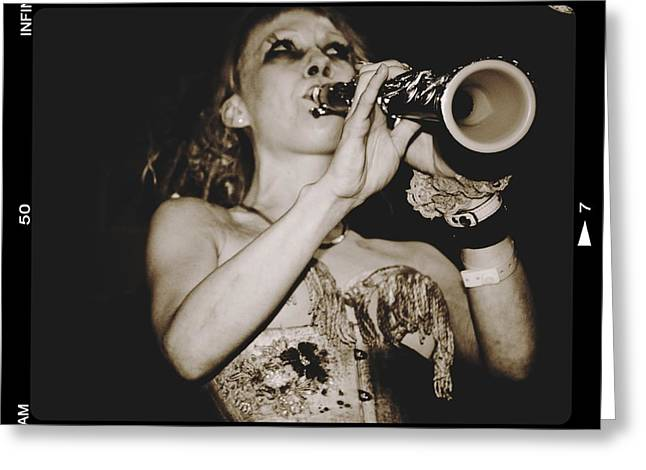 Greeting Card featuring the photograph Trumpet Lady by Alice Gipson
