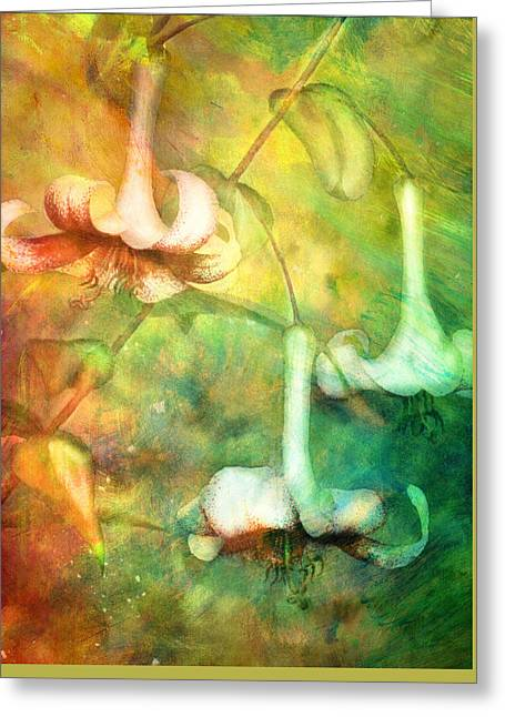 Trumpet Lilies In A Magical Forest Greeting Card by Georgiana Romanovna