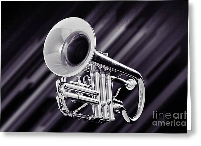 Trumpet Music Instrument Picture In Sepia 3224.01 Greeting Card by M K  Miller