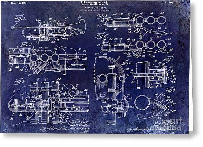 Trumpet Patent Drawing Blue Greeting Card by Jon Neidert