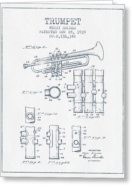Trumpet Patent From 1939 - Blue Ink Greeting Card by Aged Pixel