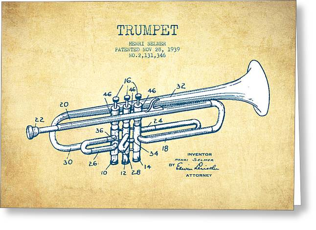 Trumpet Patent From 1939 - Vintage Paper Greeting Card