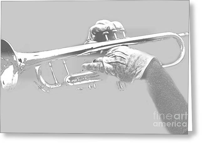 Trumpet Pencil Greeting Card by Tom Gari Gallery-Three-Photography