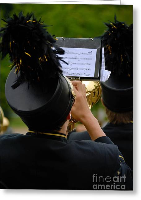Trumpet Player In Marching Band Greeting Card by Amy Cicconi
