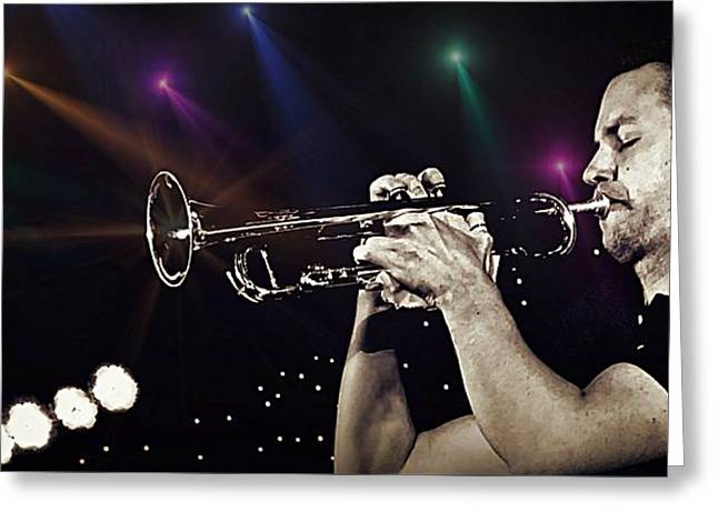 Trumpet Solo Greeting Card by Ian Gledhill