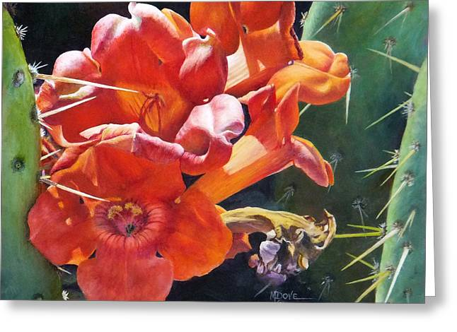 Trumpet Vine And Donkey Ears Cactus Greeting Card