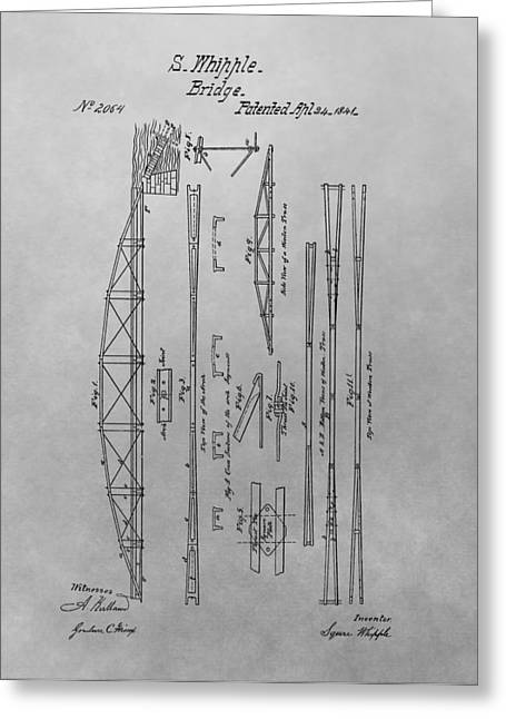 Truss Bridge Patent Drawing Greeting Card