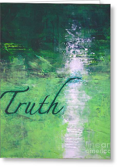 Truth - Emerald Green Abstract By Chakramoon Greeting Card by Belinda Capol