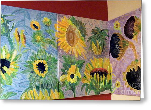 Tryptich Corner Sunflowers Greeting Card by Vicky Tarcau