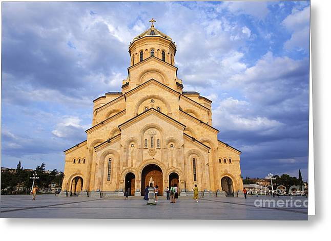 Tsminda Sameba Cathedral Tbilisi Greeting Card by Robert Preston