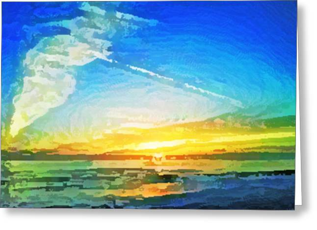Tsunami Sunset Greeting Card by TB Schenck