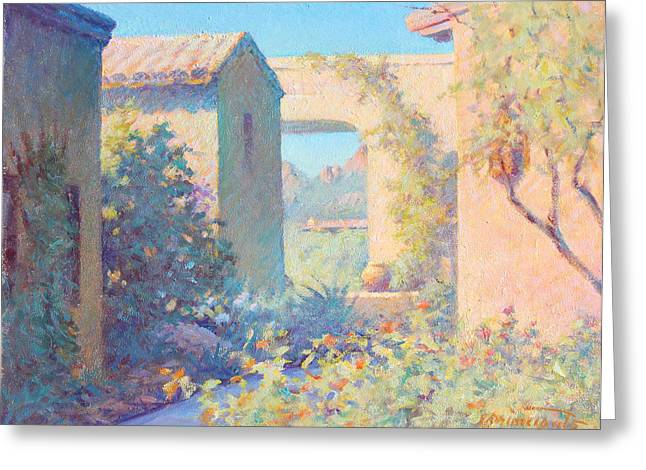 Tubac Village Center Greeting Card by Ernest Principato