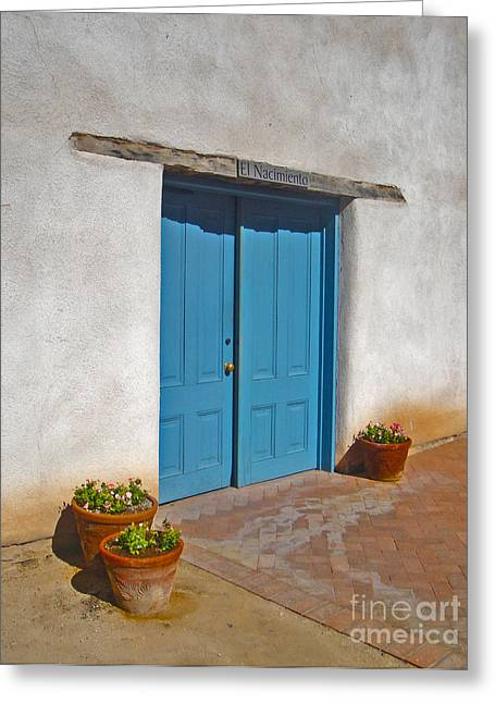 Tucson Arizona Blue Door Greeting Card by Gregory Dyer