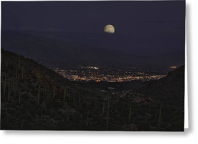 Tucson At Dusk Greeting Card