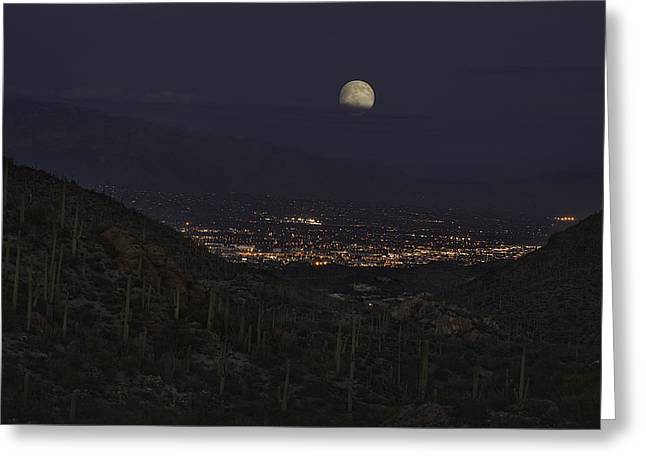 Greeting Card featuring the photograph Tucson At Dusk by Lynn Geoffroy