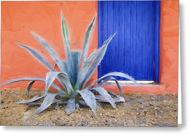 Tucson Barrio Blue Door Painterly Effect Greeting Card by Carol Leigh