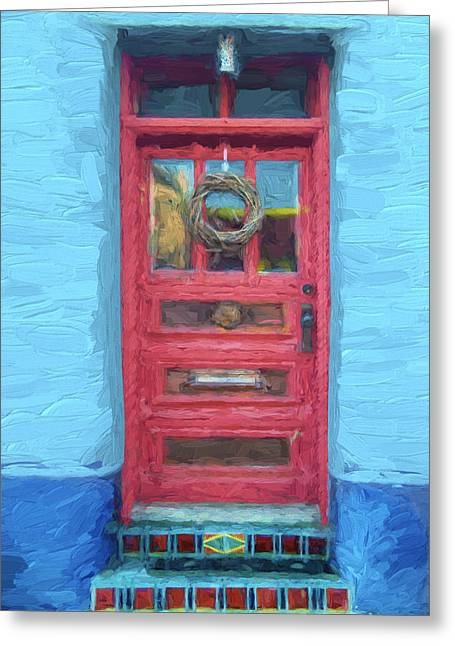 Tucson Barrio Red Door Painterly Effect Greeting Card by Carol Leigh