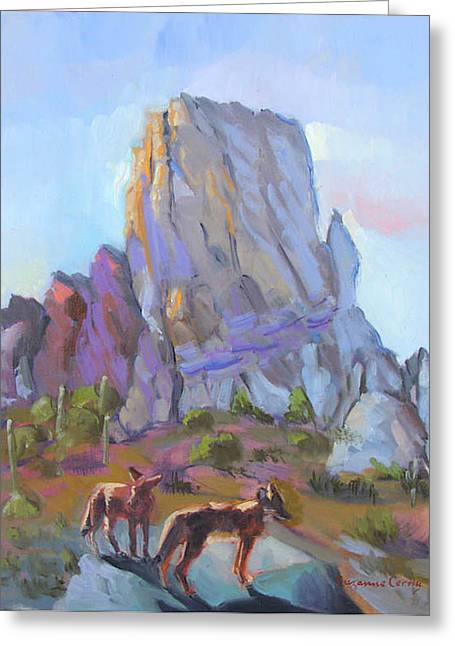Tucson Butte With Two Coyotes Greeting Card