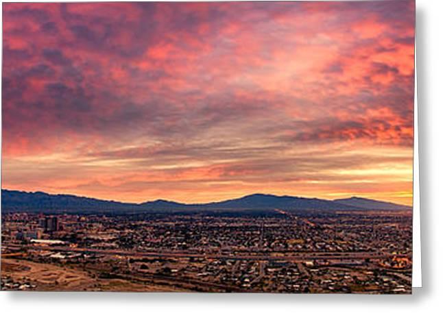 Tucson From A Hill Panorama At Dawn Greeting Card by Kayta Kobayashi